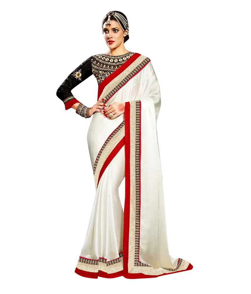 Alethia Enterprise White Chiffon Saree