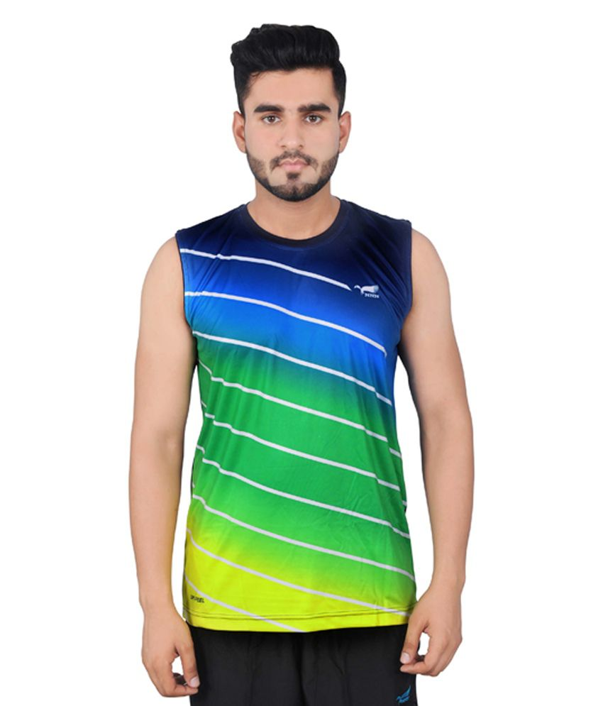 NNN Multicolour Sleeveless Dry Fit Men's T-shirt