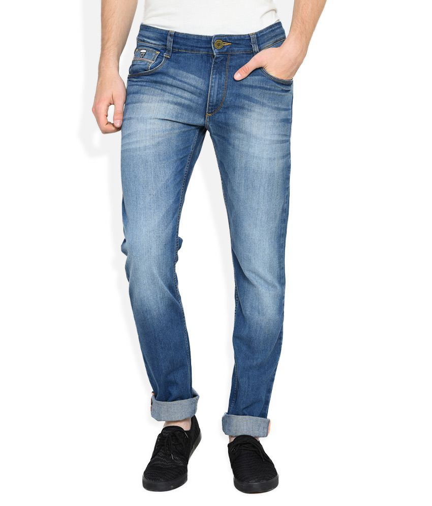 John Players Blue Low Rise Slim Fit Jeans