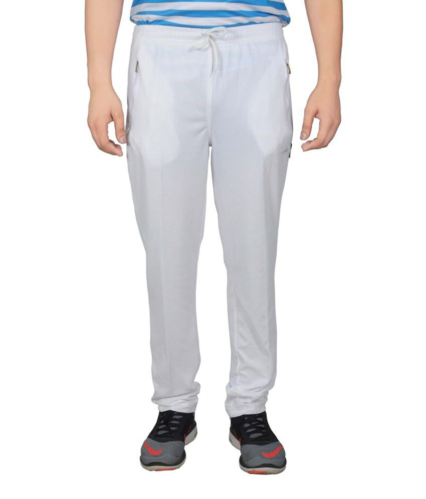 NNN White Full Length Dry Fit Men's Track Pant