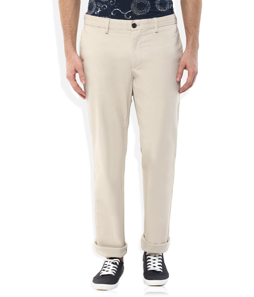 Indian Terrain Beige Regular Fit Chinos