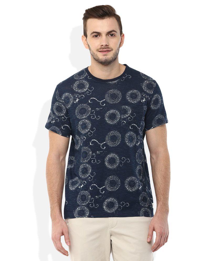 Indian Terrain Navy Round Neck Printed T-Shirt