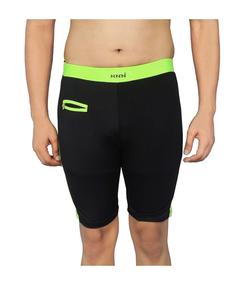 NNN Black Knee Length Lycra Swimming Men's Trunk/ Swimming Costume