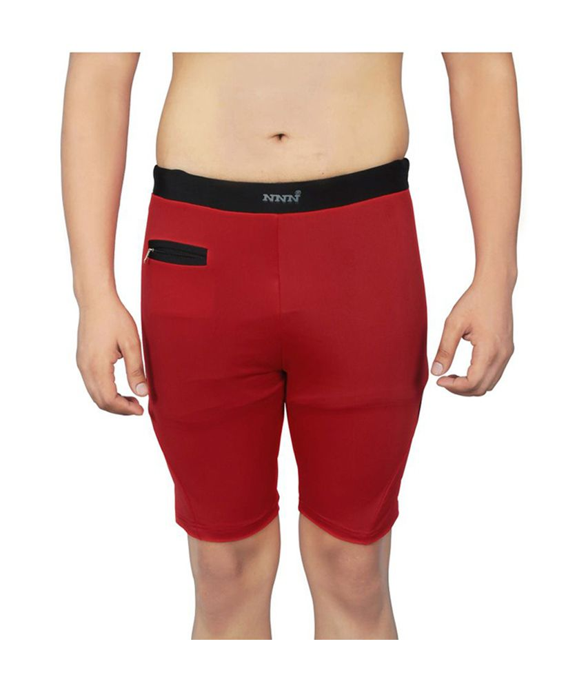 NNN Red Knee Length Lycra Swimming Men's Trunk/ Swimming Costume