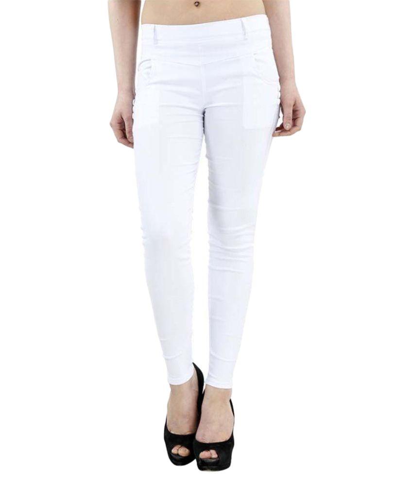 Fashion Arcade Cotton Lycra Jeggings - White