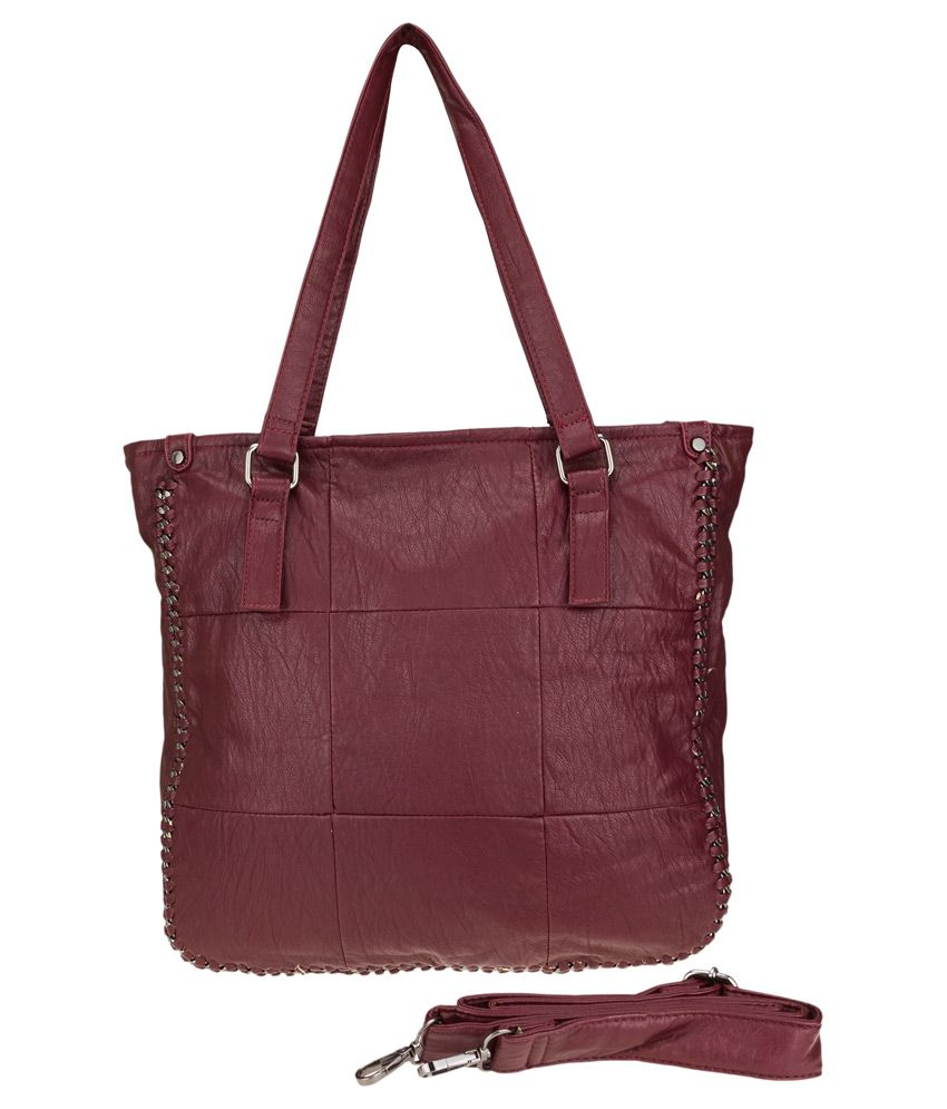 Zeva Maroon Faux Leather Shoulder Bag
