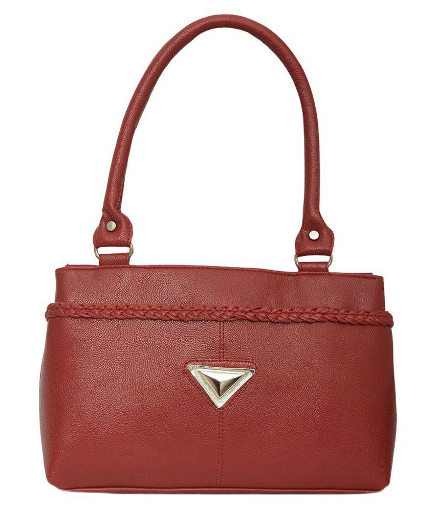Aisna Brown Faux Leather Shoulder Bag