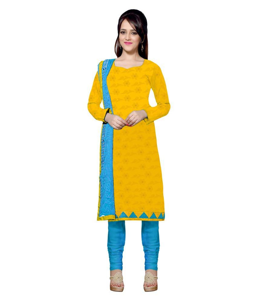 Apple Creation Yellow Jacquard Dress Material