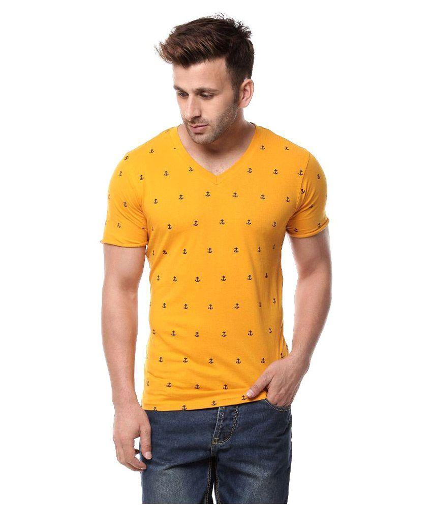 Gritstones Yellow V-Neck T-Shirt