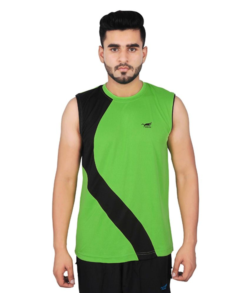 NNN Green Sleeveless Dry Fit Men's T-shirt