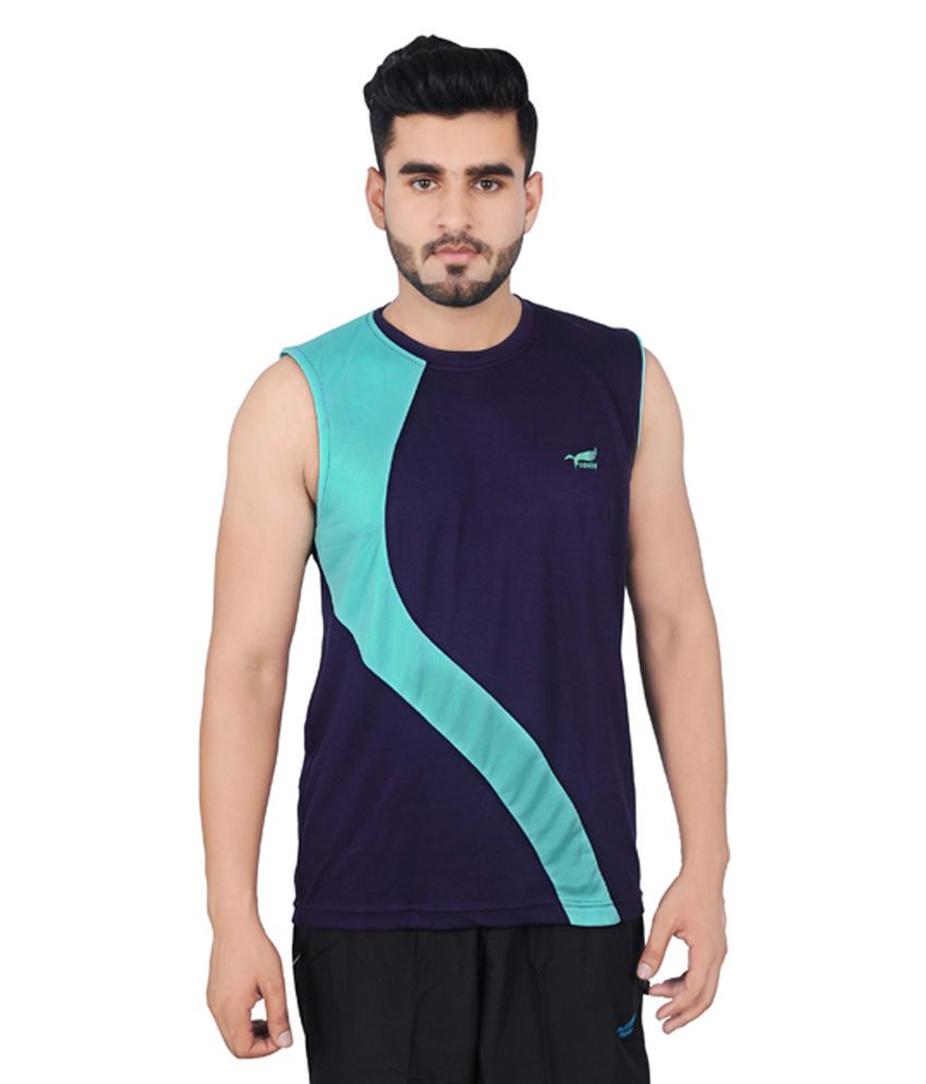 NNN Navy Blue Sleeveless Dry Fit Men's T-shirt