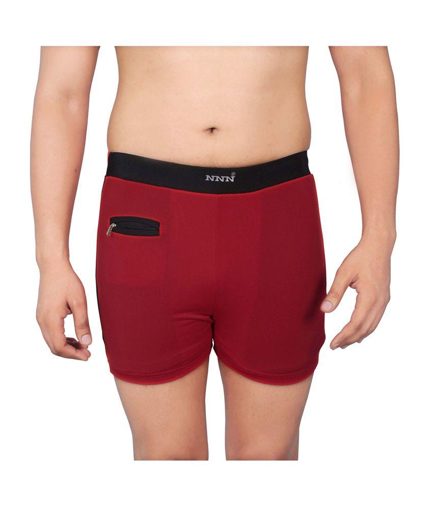 NNN Red Short Length Lycra Men's Swimming Trunk