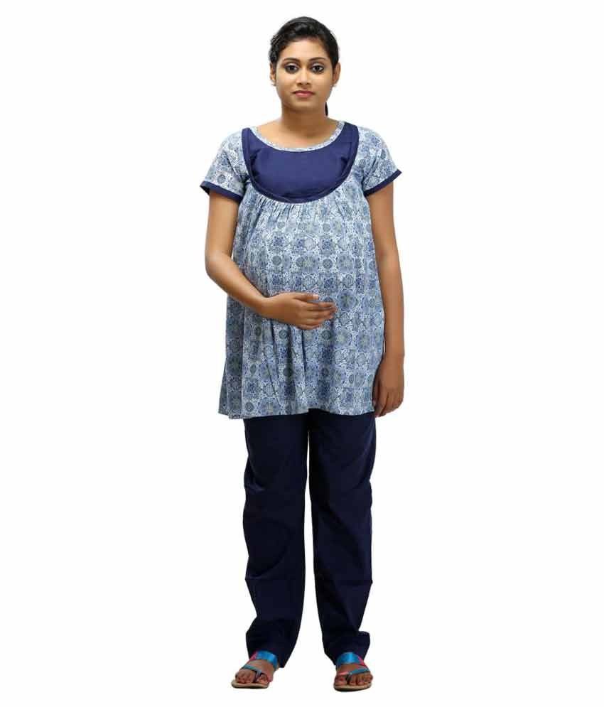 c3a4f4c4ffdcc Ziva Maternity Wear Baby Blue Cotton Tops Price in India | Buy Ziva  Maternity Wear Baby Blue Cotton Tops Online - Gludo.com