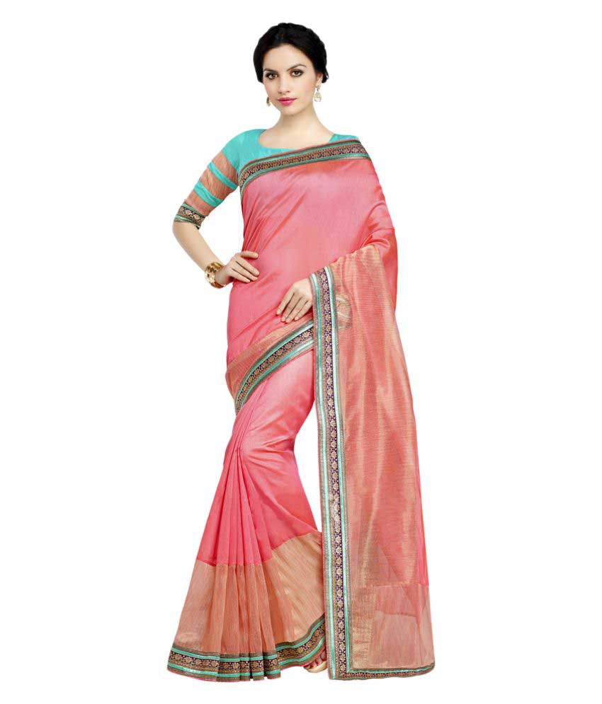 Apple Creation Pink Art Silk Saree