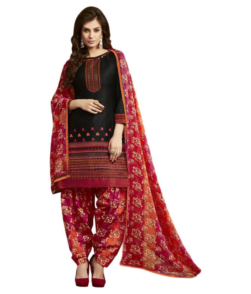 Swaron Black Cotton Dress Material