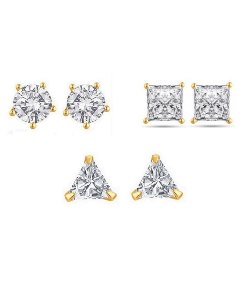 Parijaat Golden Studs - Pack of 3