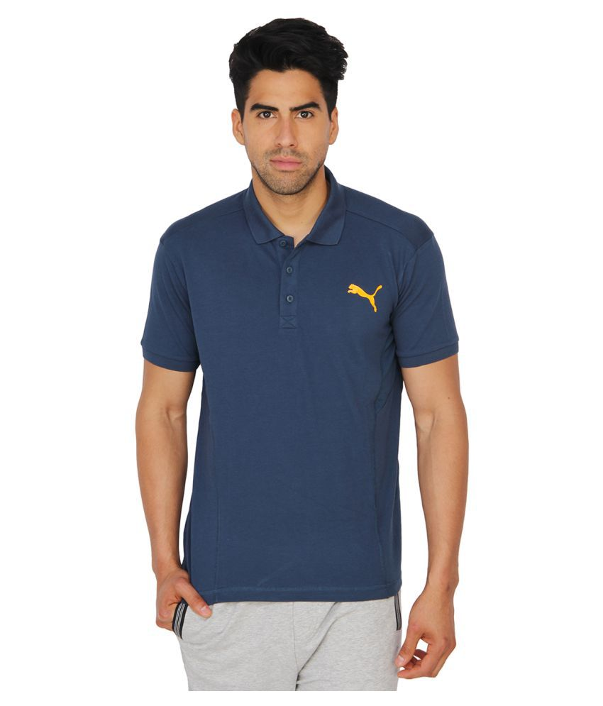Puma Blue Cotton Polo T-Shirt