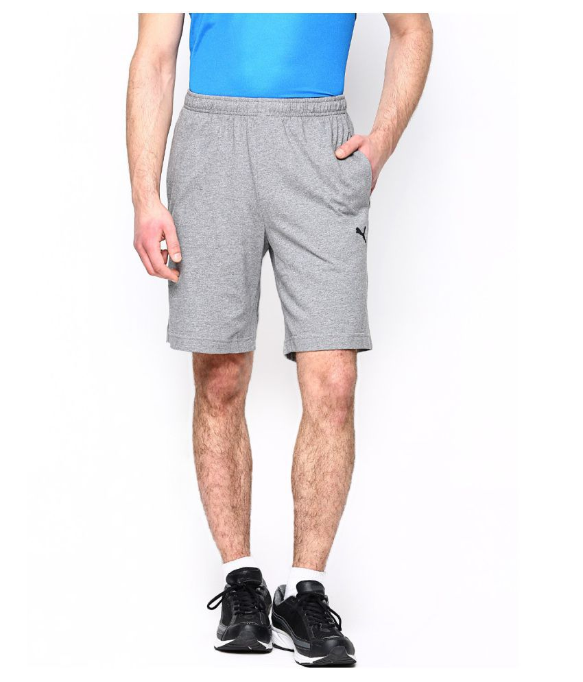 Puma Gray Cotton Men Shorts