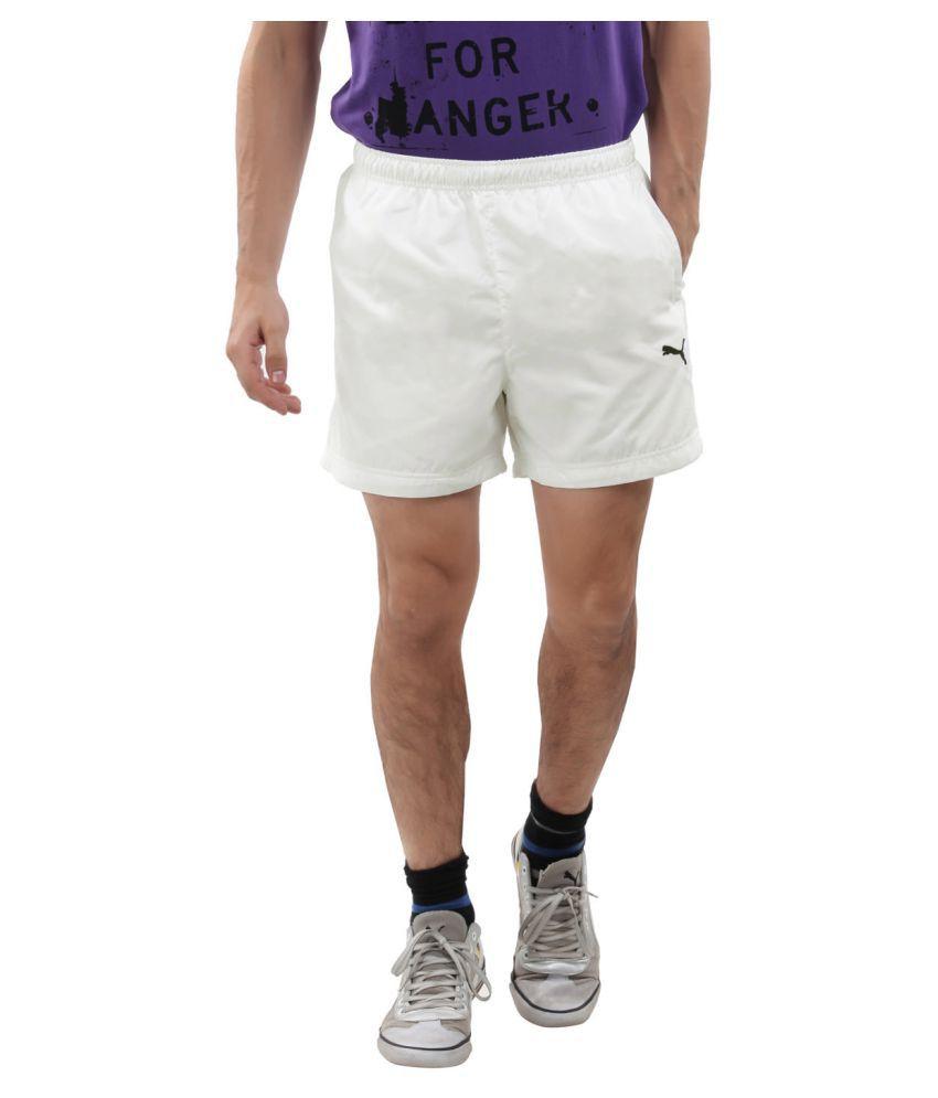 Puma White Polyster Men Shorts