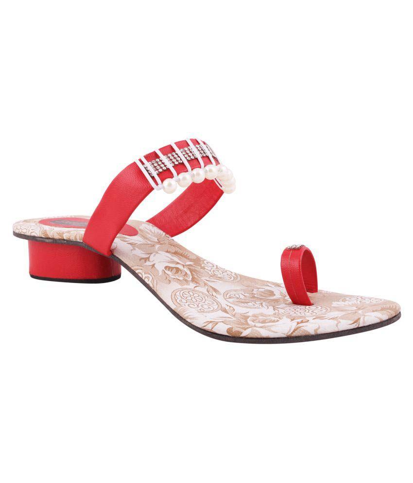 Sapyork Red Block Heels
