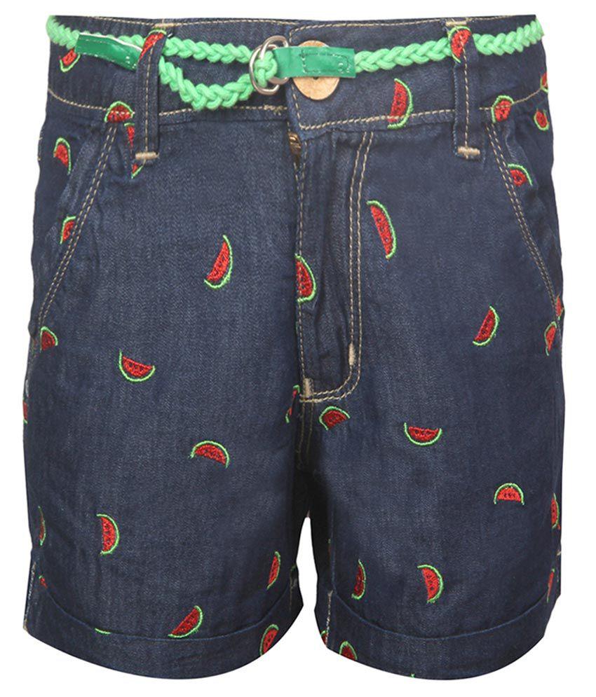 Vitamins Blue Embroidered Regular Fit Denim Shorts