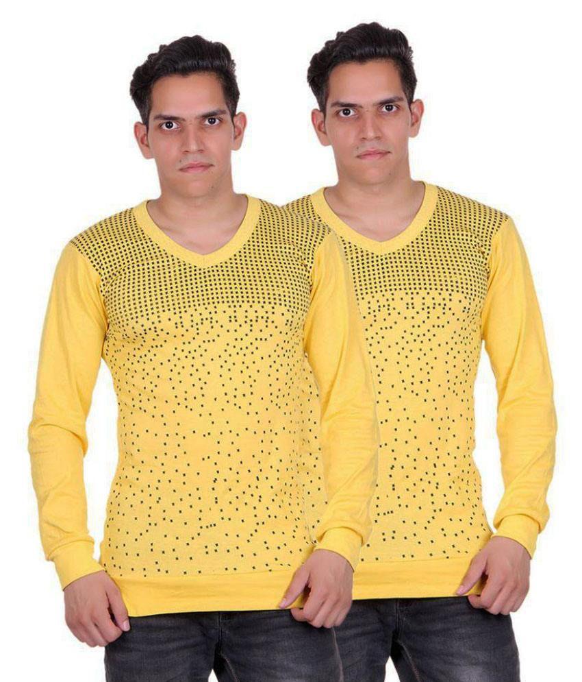 White Moon Yellow V-Neck T-Shirt Pack of 2