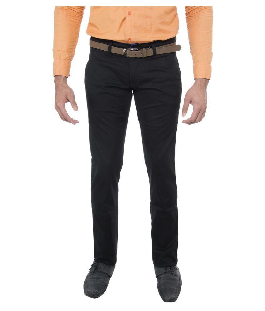 Le Meiux Black Slim Flat Trouser