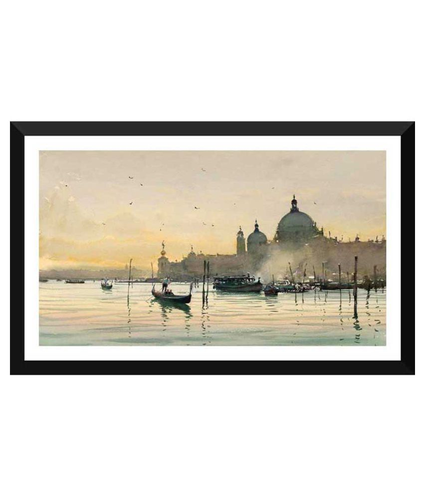 Tallenge A Beautiful Early Morning View Of Venice Paper Art Prints With Frame Single Piece