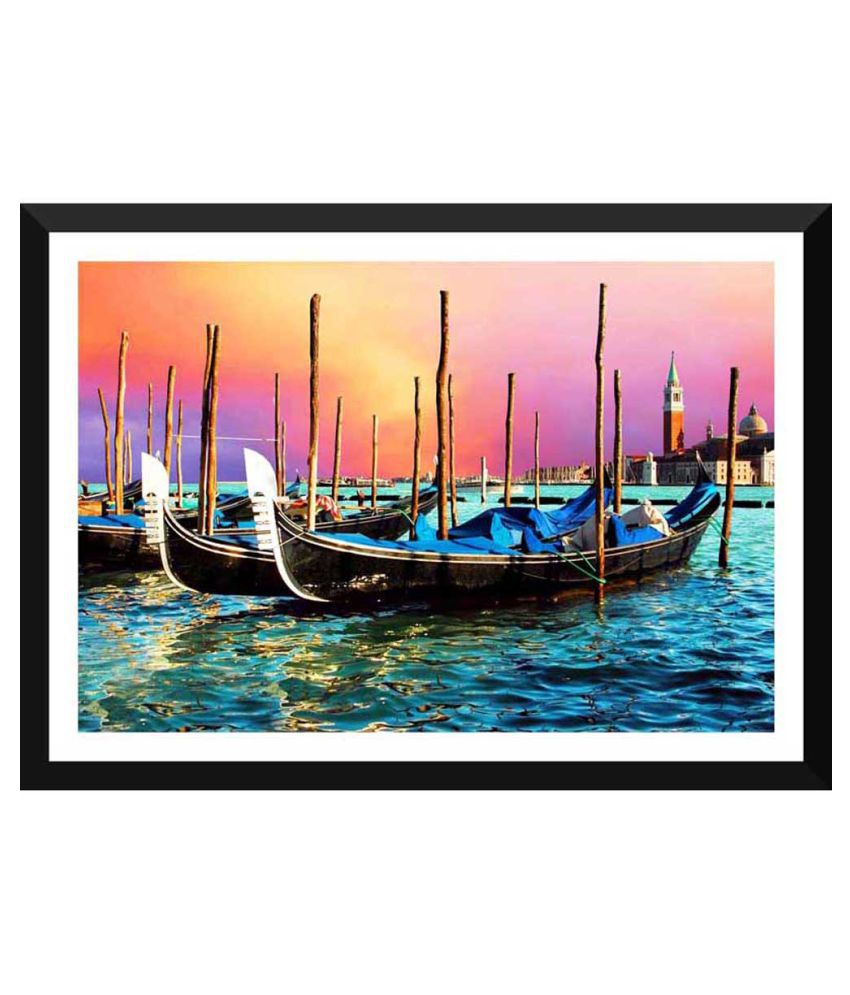 Tallenge Gondolas Near The Grand Canal In Venice Paper Art Prints With Frame Single Piece
