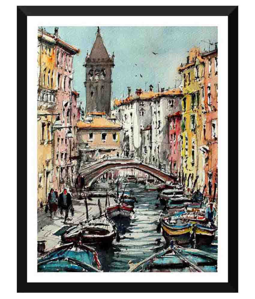 Tallenge Painting Of Gondolas Paper Art Prints With Frame Single Piece