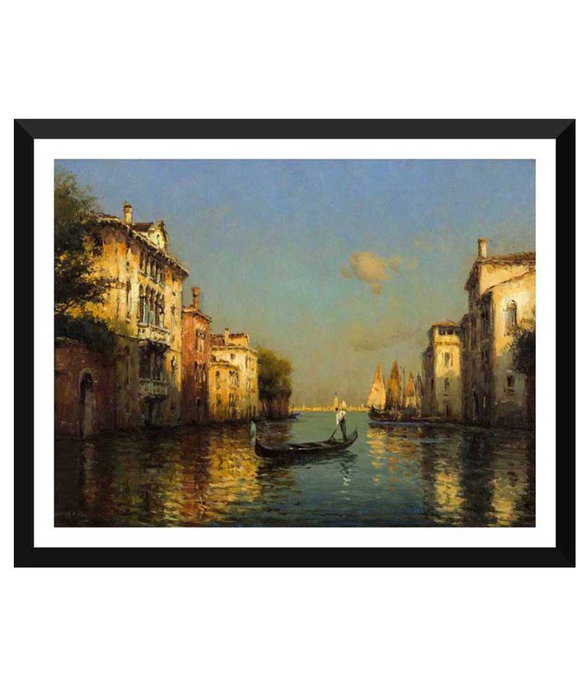 Tallenge Vintage Oil Painting Of Gondolier In Venice Paper Art Prints With Frame Single Piece