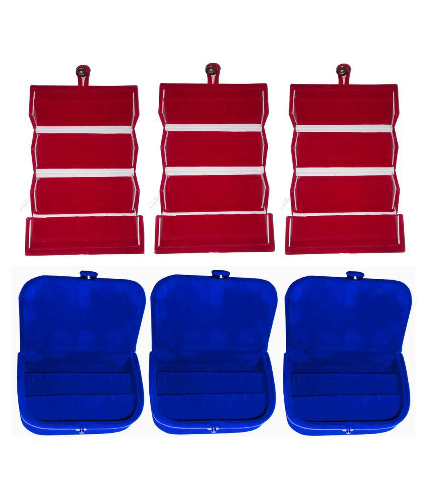 Abhinidi Combo of Three Multicolour Earrings Folders and Three Earrings Vanity Cases