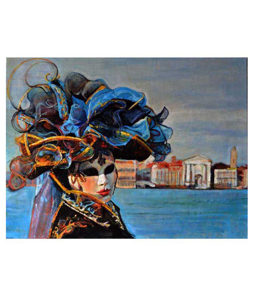 Tallenge Oil Painting Of A Woman In Venetian Mask Canvas Art Prints With Frame Single Piece