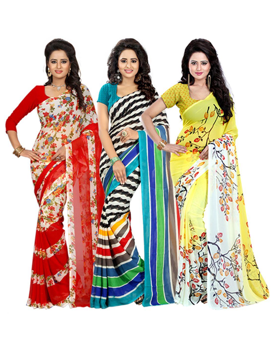 Heena Multicoloured Georgette Saree Combos