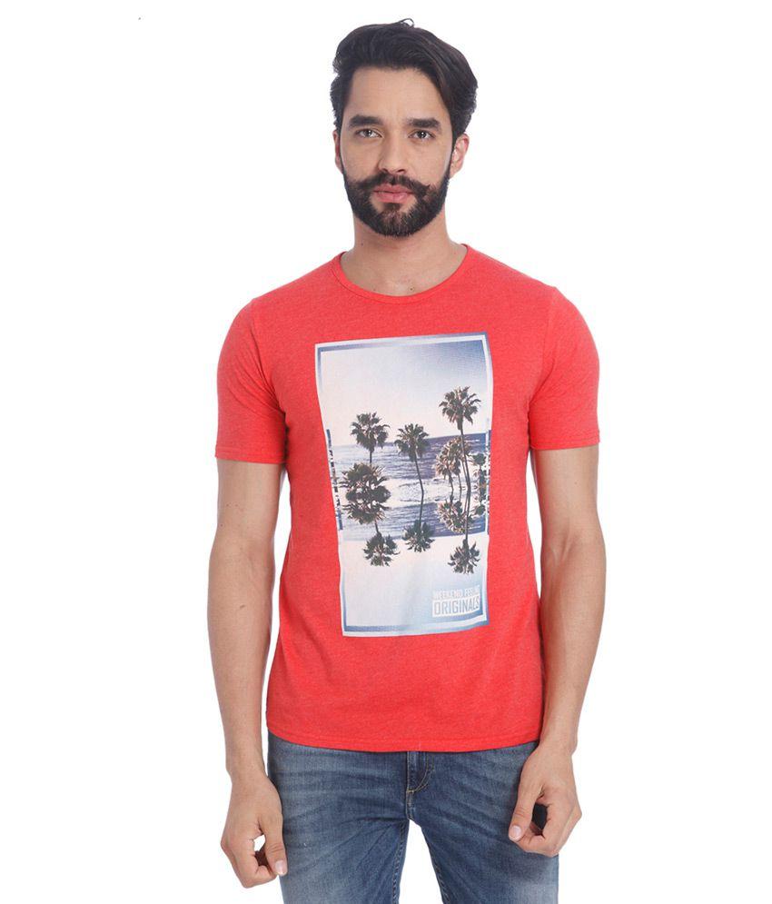 Jack & Jones Red Round Neck T Shirt