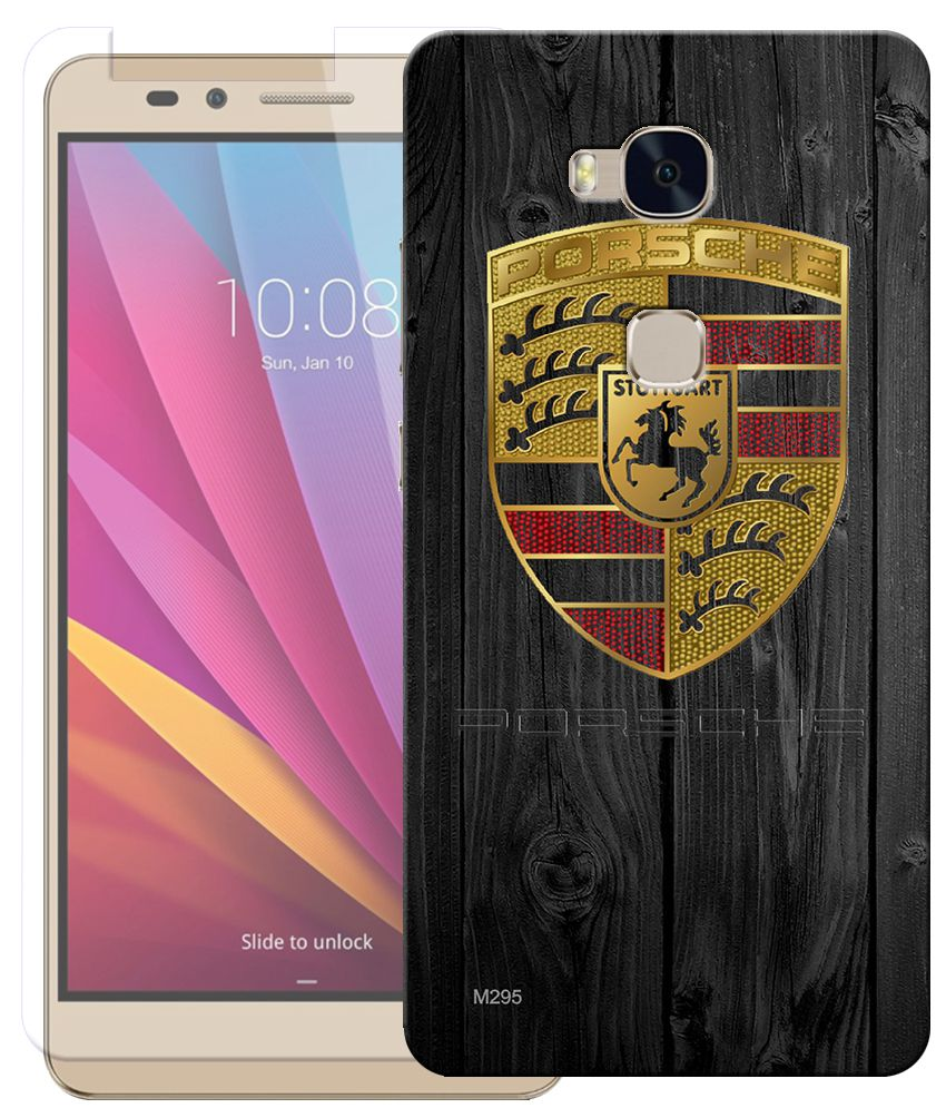 Anwesha's Combo of Automative Logo HD UV Printed Mobile Back Cover and Tempered Glass For Huawei Honor 5X