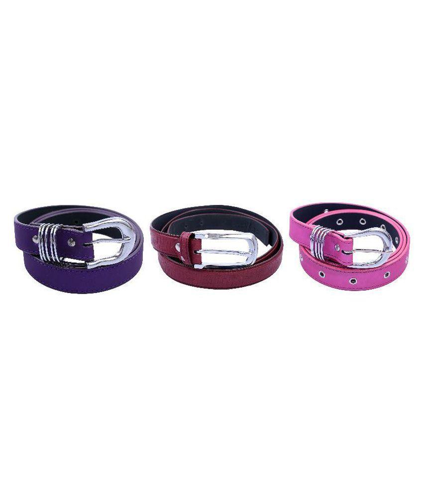 Contra Multi PU Casual Belts - Pack of 3