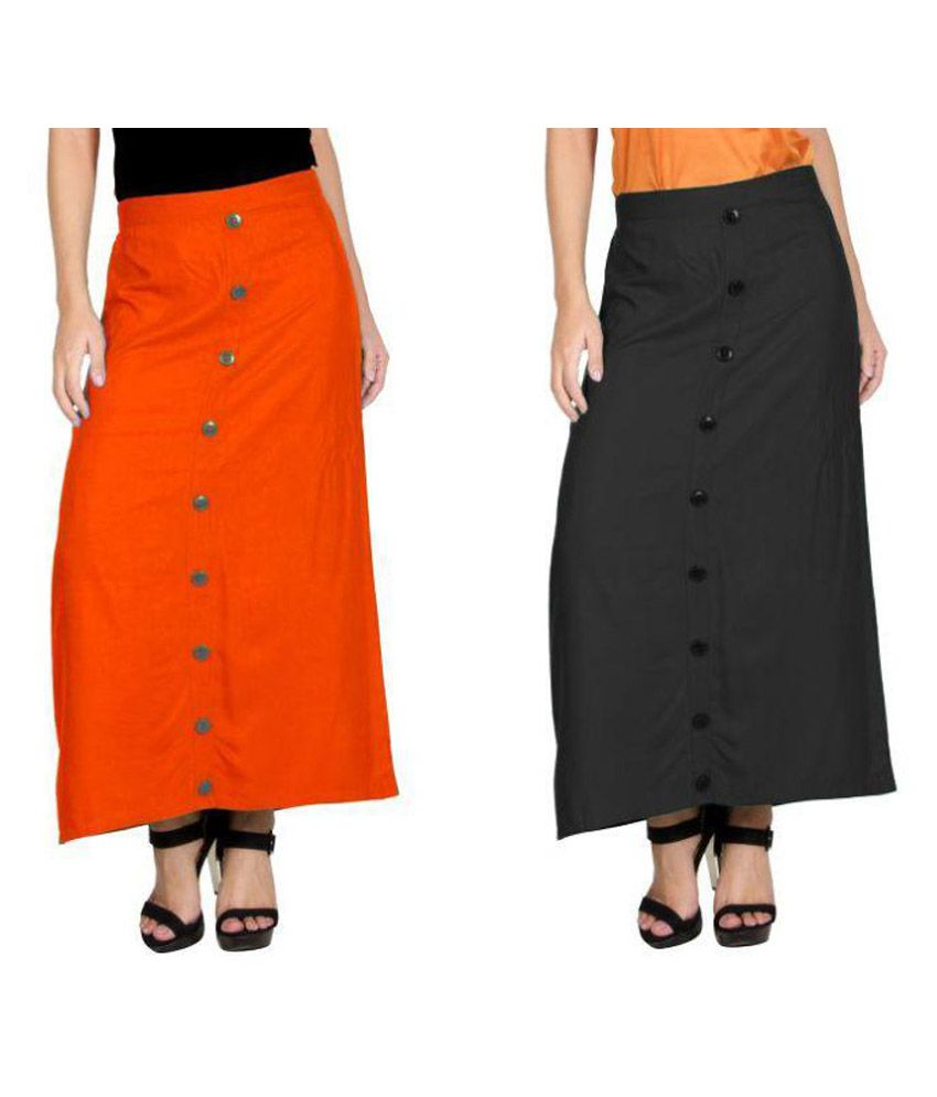 Curvyy Multi Color Rayon A-Line Skirt