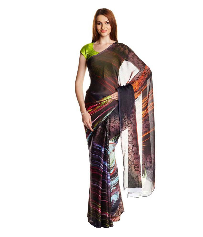 Satrang Multicoloured Chiffon Saree