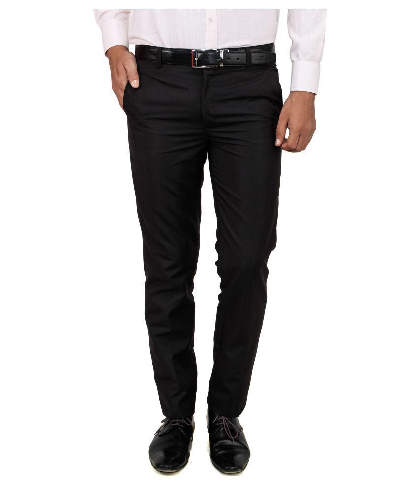 Franklineplus Black Regular Flat Trouser