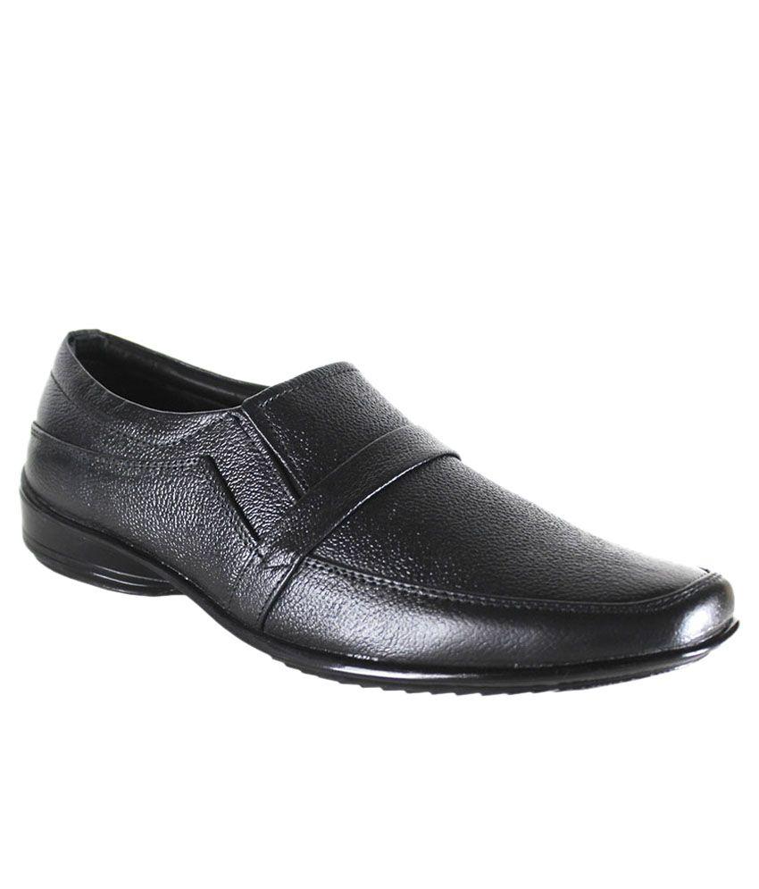 Kopps Black Slip On Genuine Leather Formal Shoes