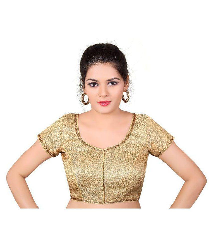 Atulya Designer Blouse Gold Round Shape With Dori Blouse