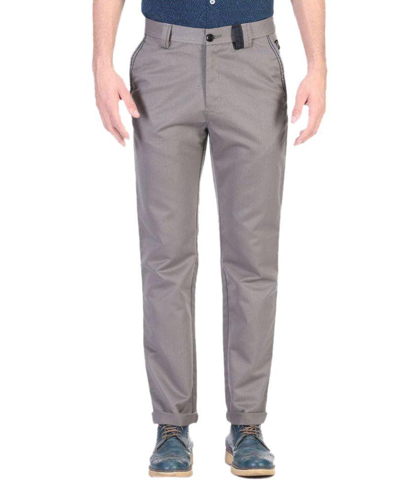 Vandnam Fabrics Grey Slim Flat Chinos