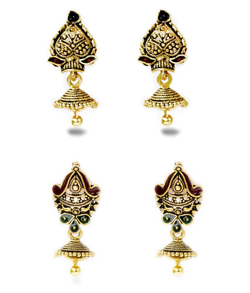 Three Shades Multicolour Jhumki - Set of 2