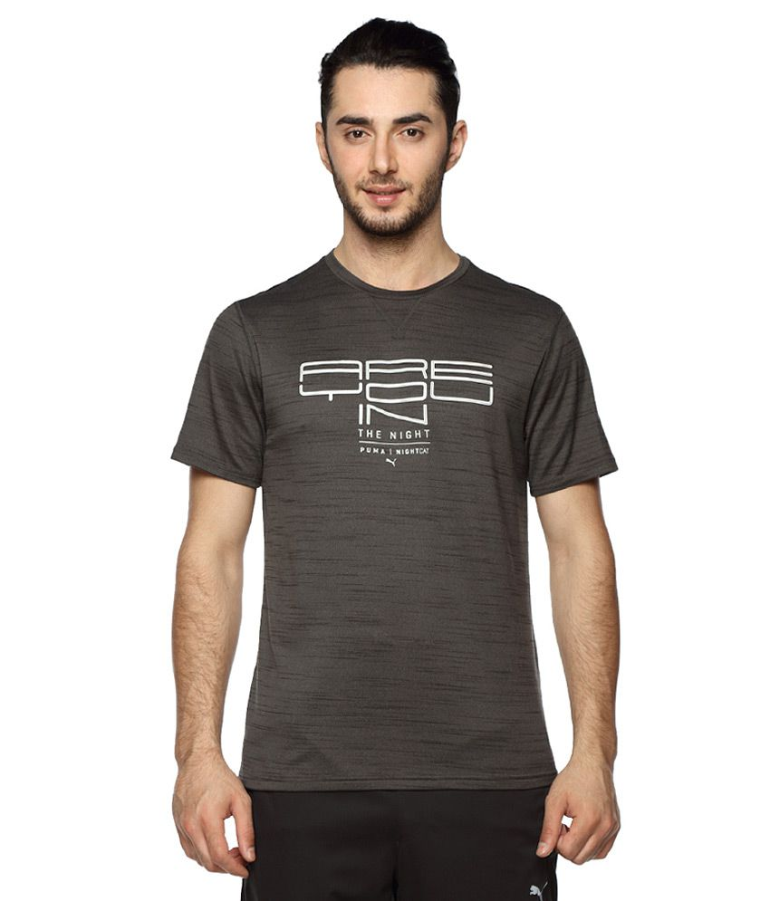 Puma Black Round Neck Printed T-Shirt