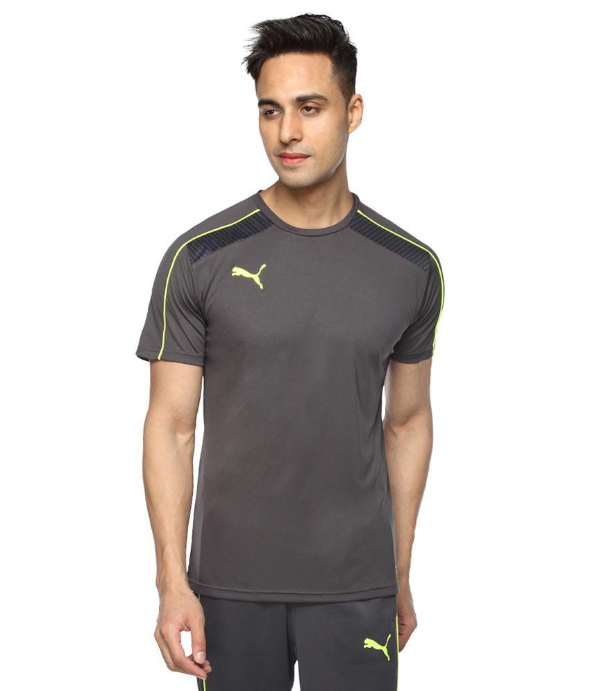 Puma Grey Round Neck Printed T-Shirt