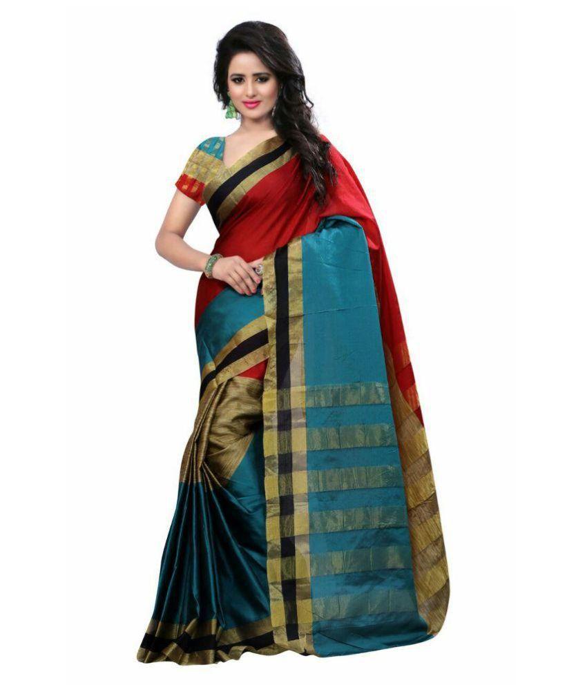 7bd448a8e 7 Brothers Multicoloured Cotton Silk Saree Combos Price in India ...