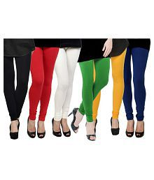 MDS Jeans Cotton Pack of 6 Churidar Leggings