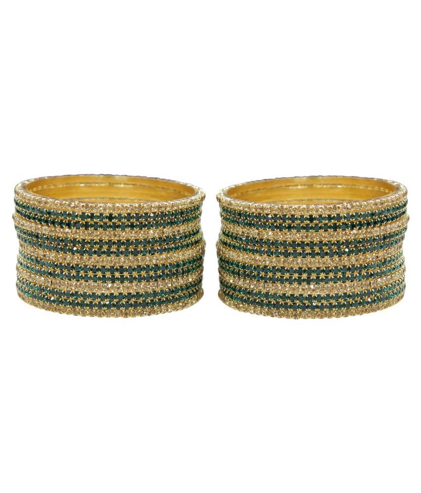 Much More Crystal Studded Multicolor Bangle Set