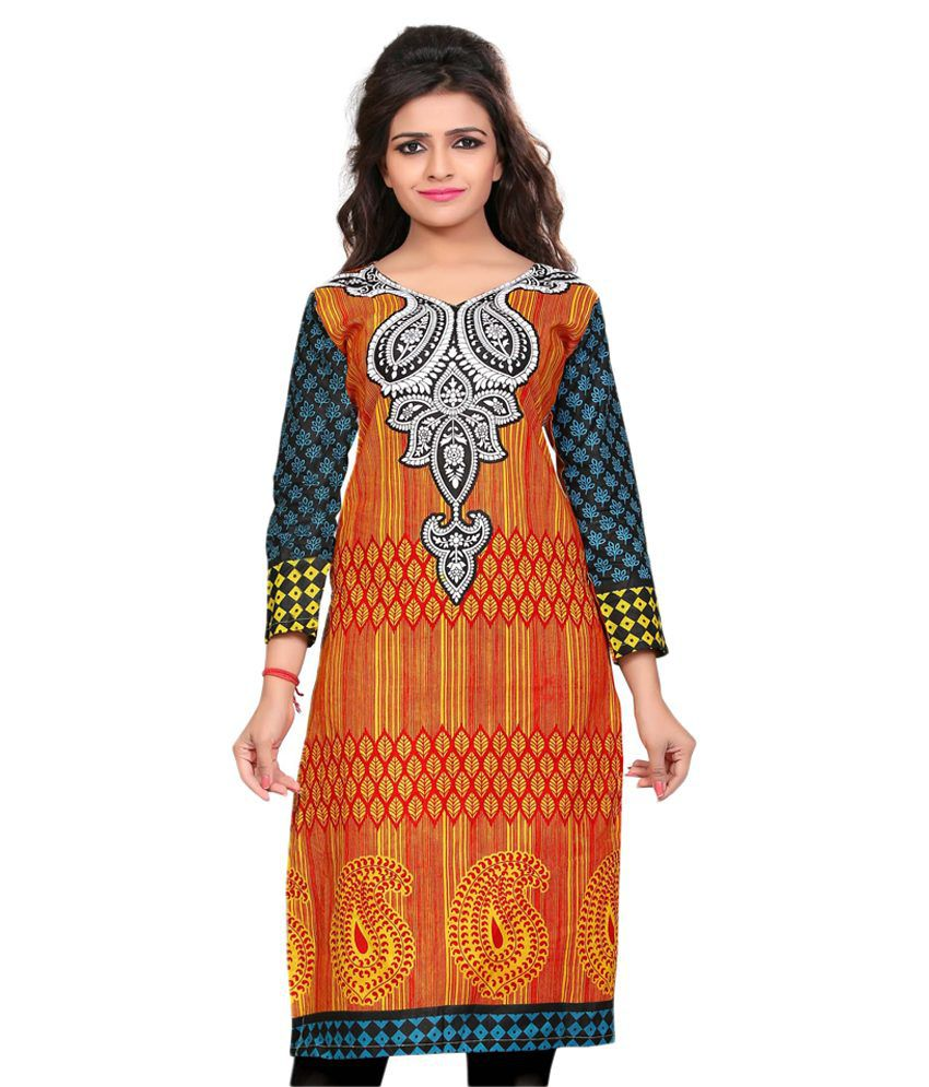 Nakoda Creation Multicoloured Cotton Straight Self print Kurti